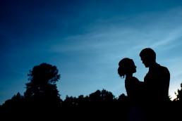 Night time shot of newlyweds