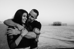 Brighton beach engagement shoot