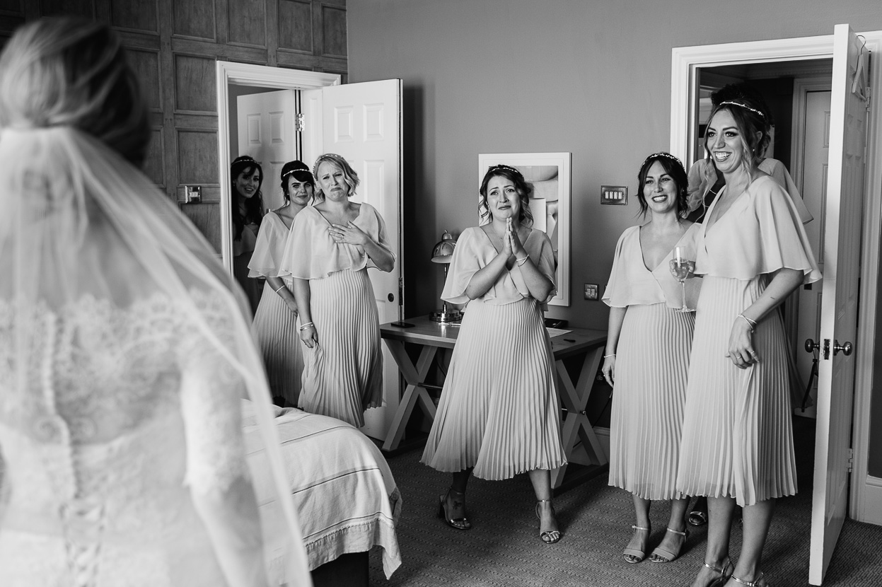 Four Oaks Farm wedding bridesmaids reaction