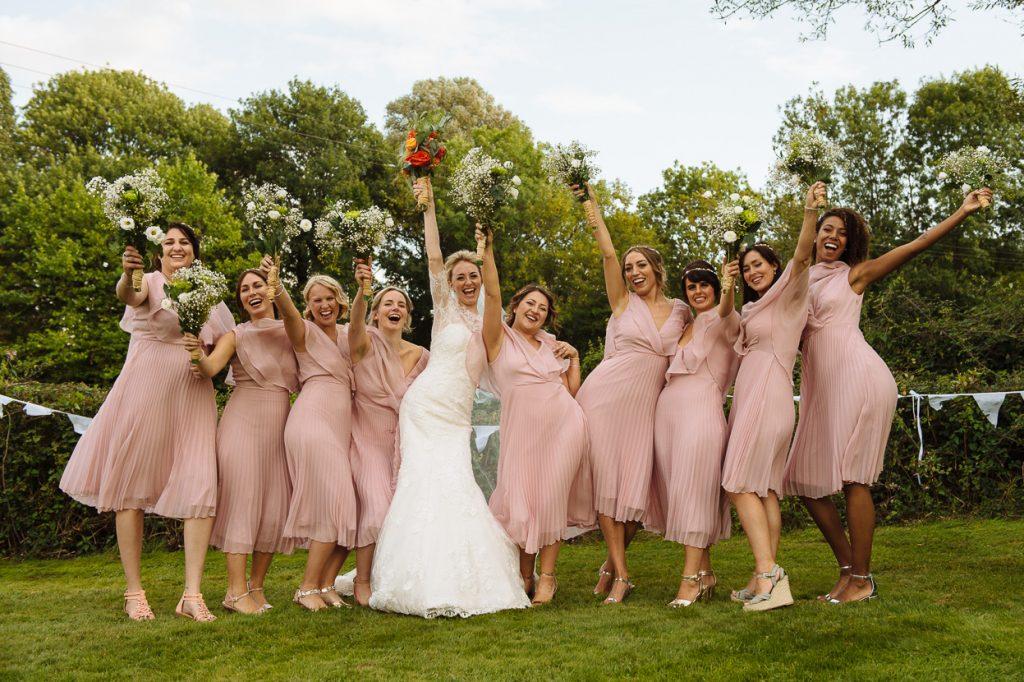 Four Oaks Farm wedding bride with bridesmaids