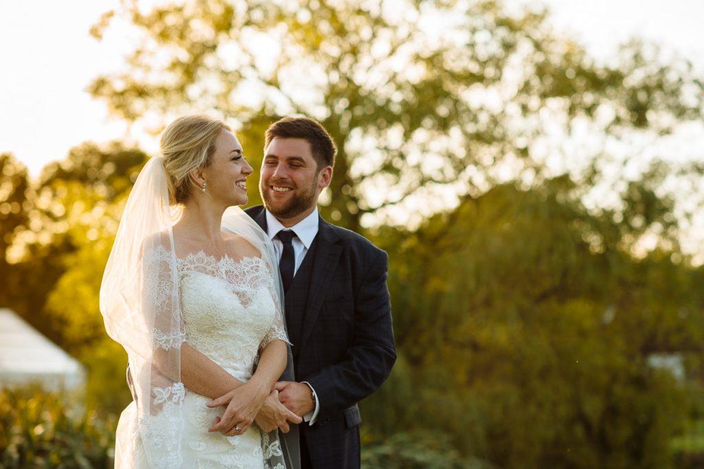 Four Oaks Farm wedding golden hour portrait