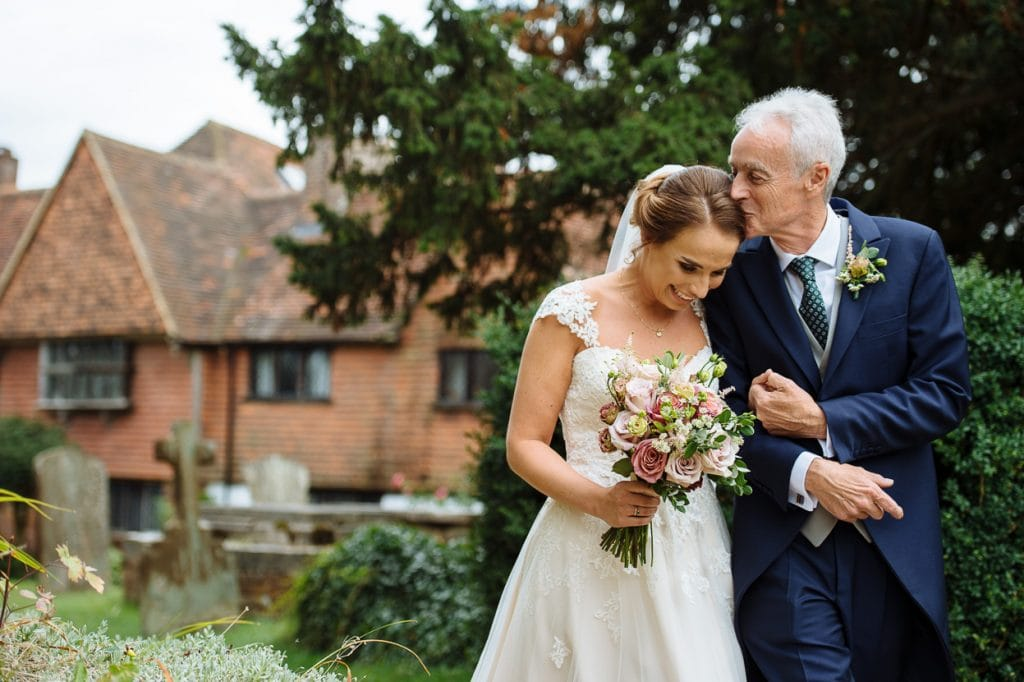 Henhaw Farm wedding bride with dad