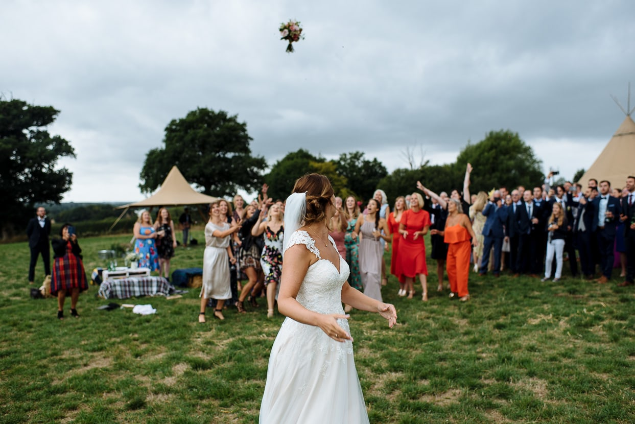 Henhaw Farm wedding bouquet toss