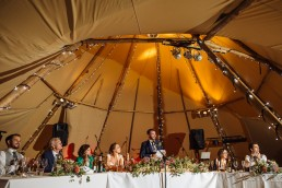 Wedding speeches in a tipi