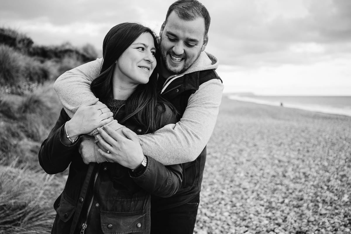 Bournemouth engagement shoot on beach at Hengistbury Head