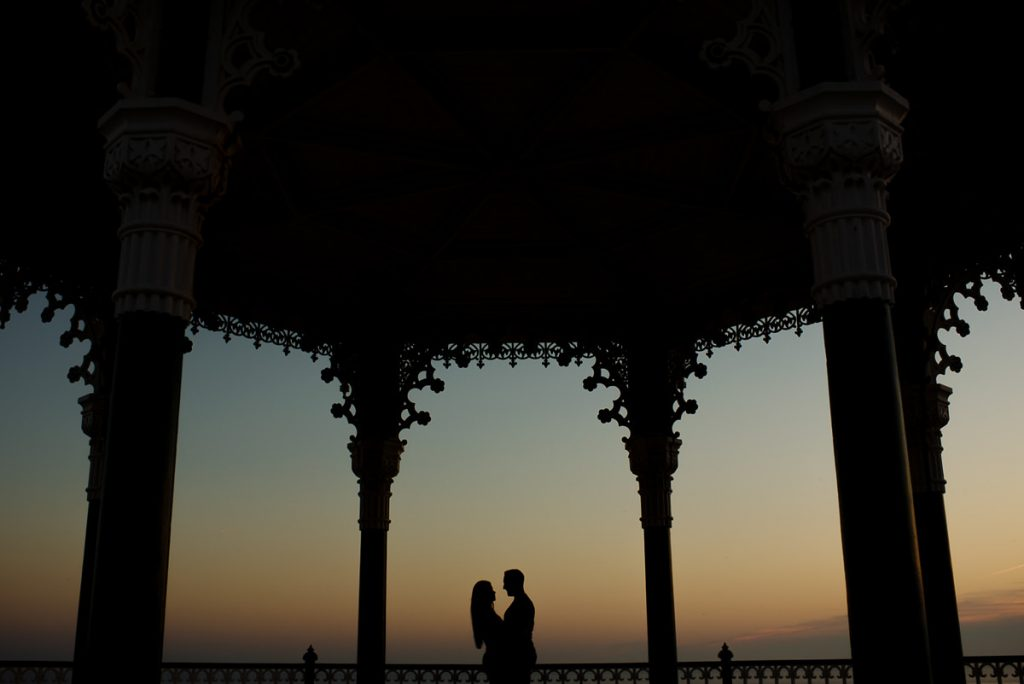 Brighton Beach pre wedding shoot sunset at bandstand