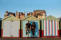 Brighton beach huts pre wedding shoot