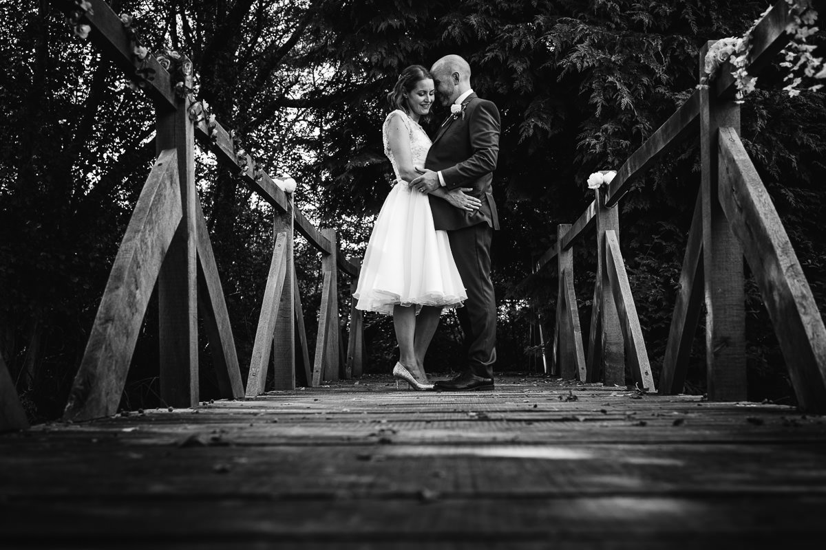 Brookfield Barn wedding bridge portrait