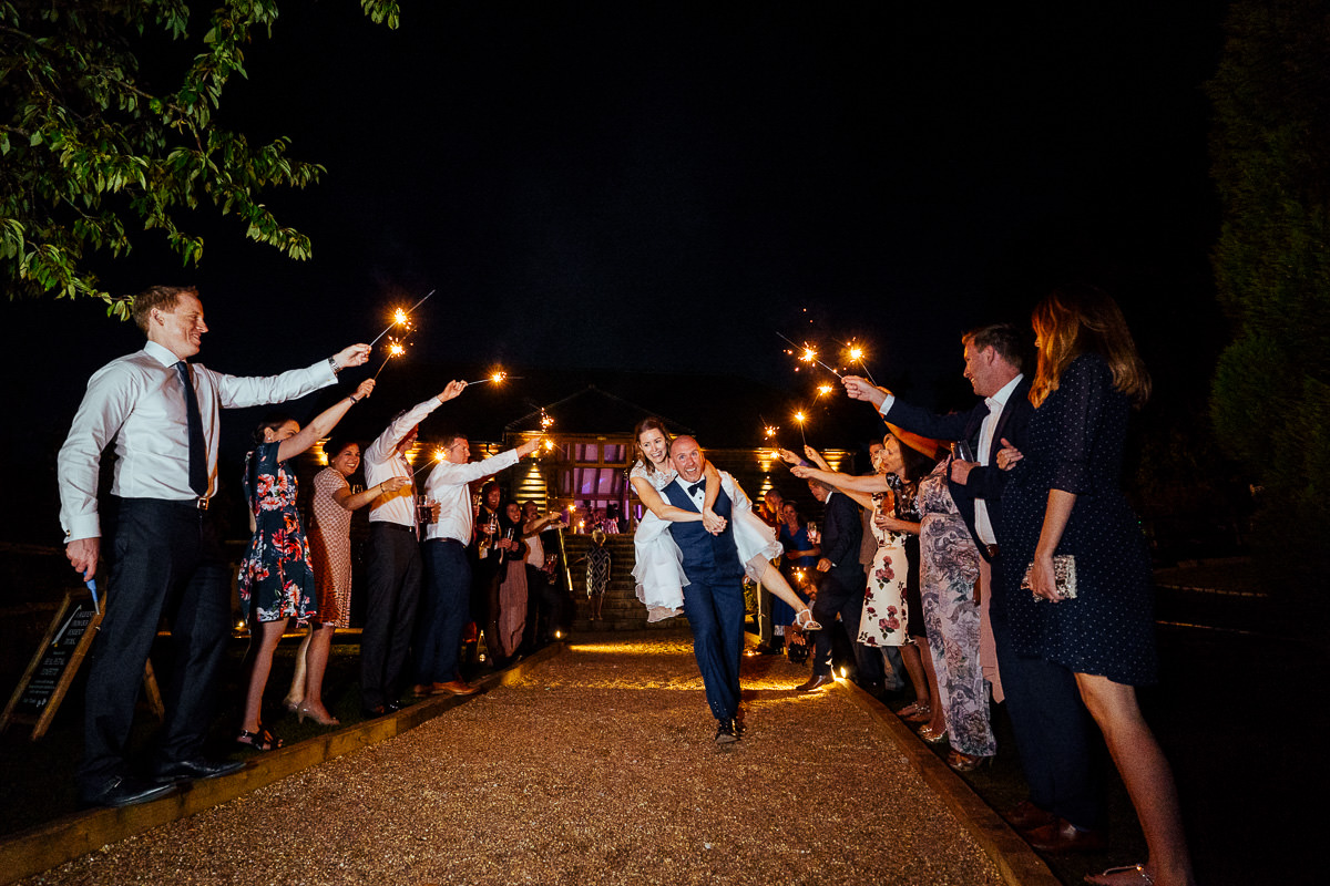 Brookfield Barn wedding sparkler exit