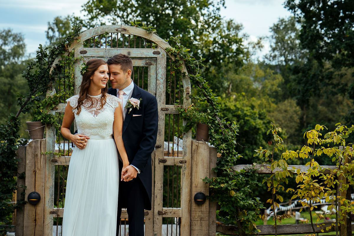 The Beacon, Tunbridge Wells wedding bride and groom portrait in garden