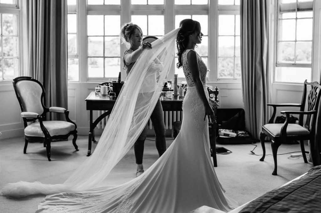 Wiston House wedding photography bride getting ready