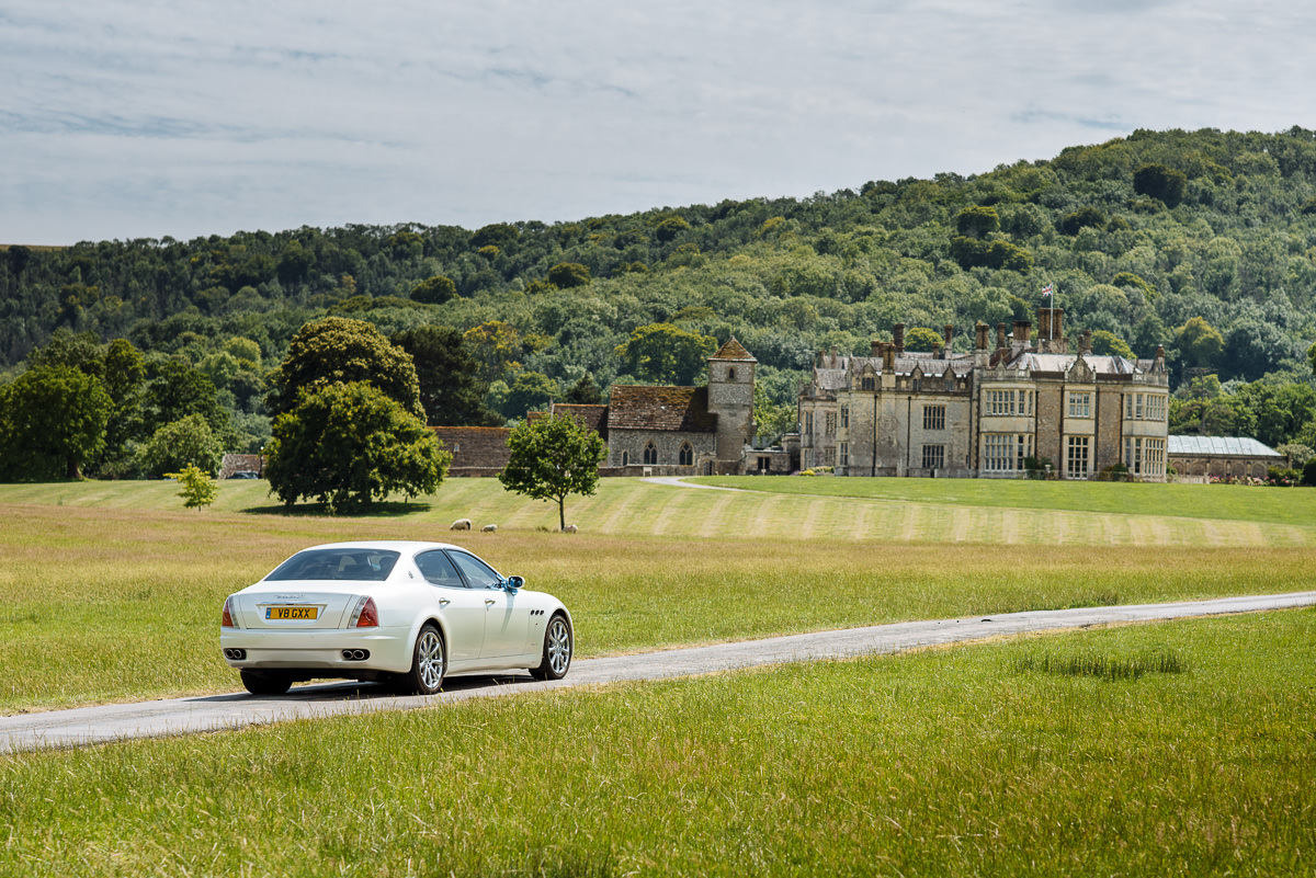 Wiston House wedding photography car arriving