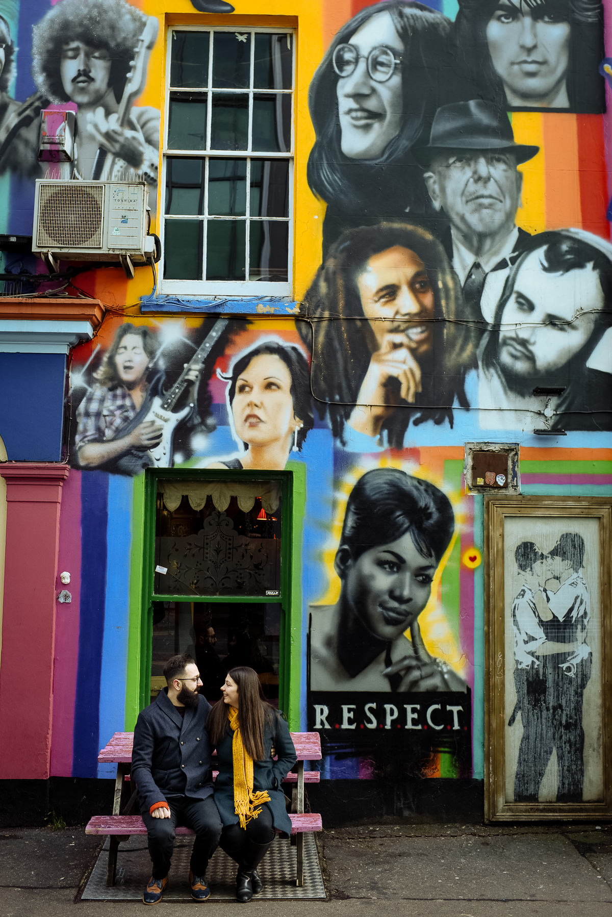 Brighton engagement shoot with Graffiti Prince Albert Pub