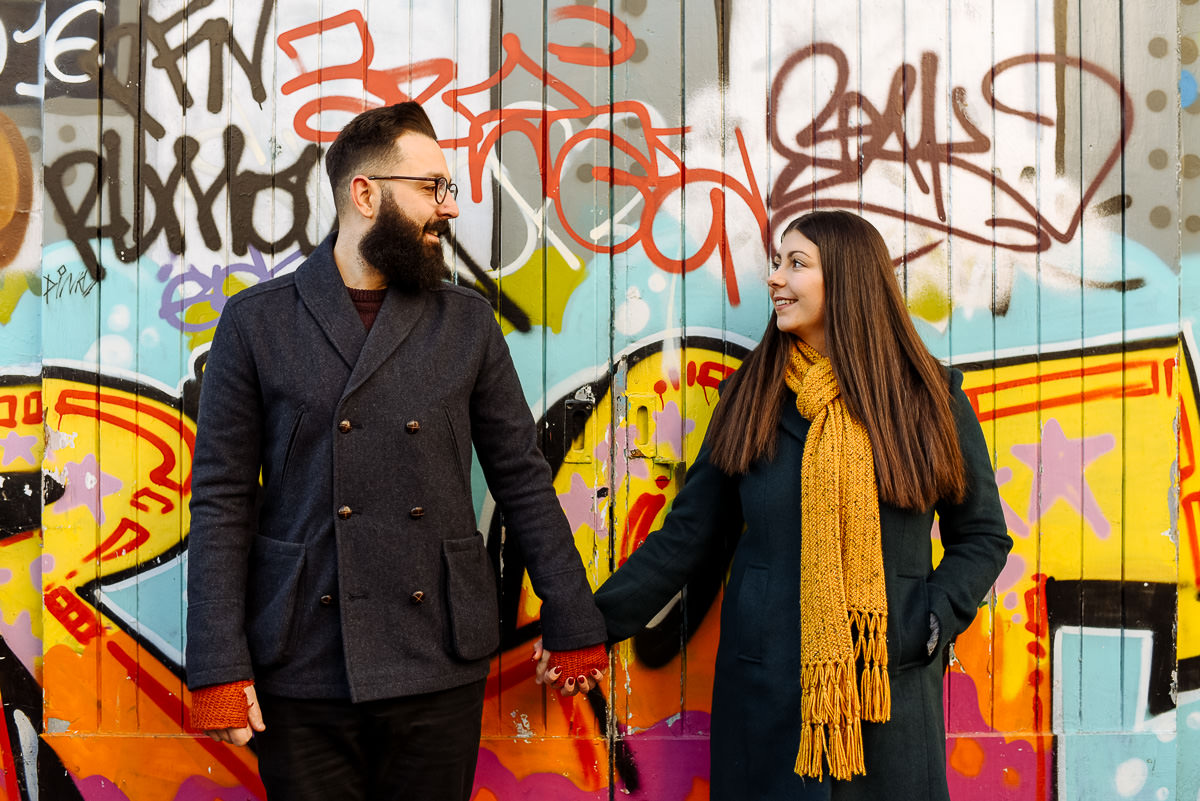 Brighton engagement shoot in the Laines with Graffiti
