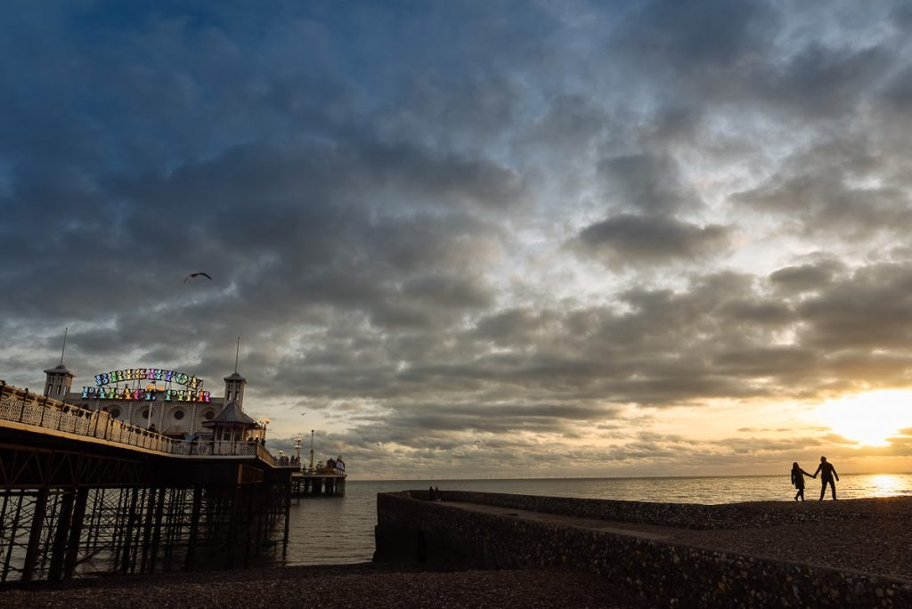 Brighton engagement shoot by Pier at sunset