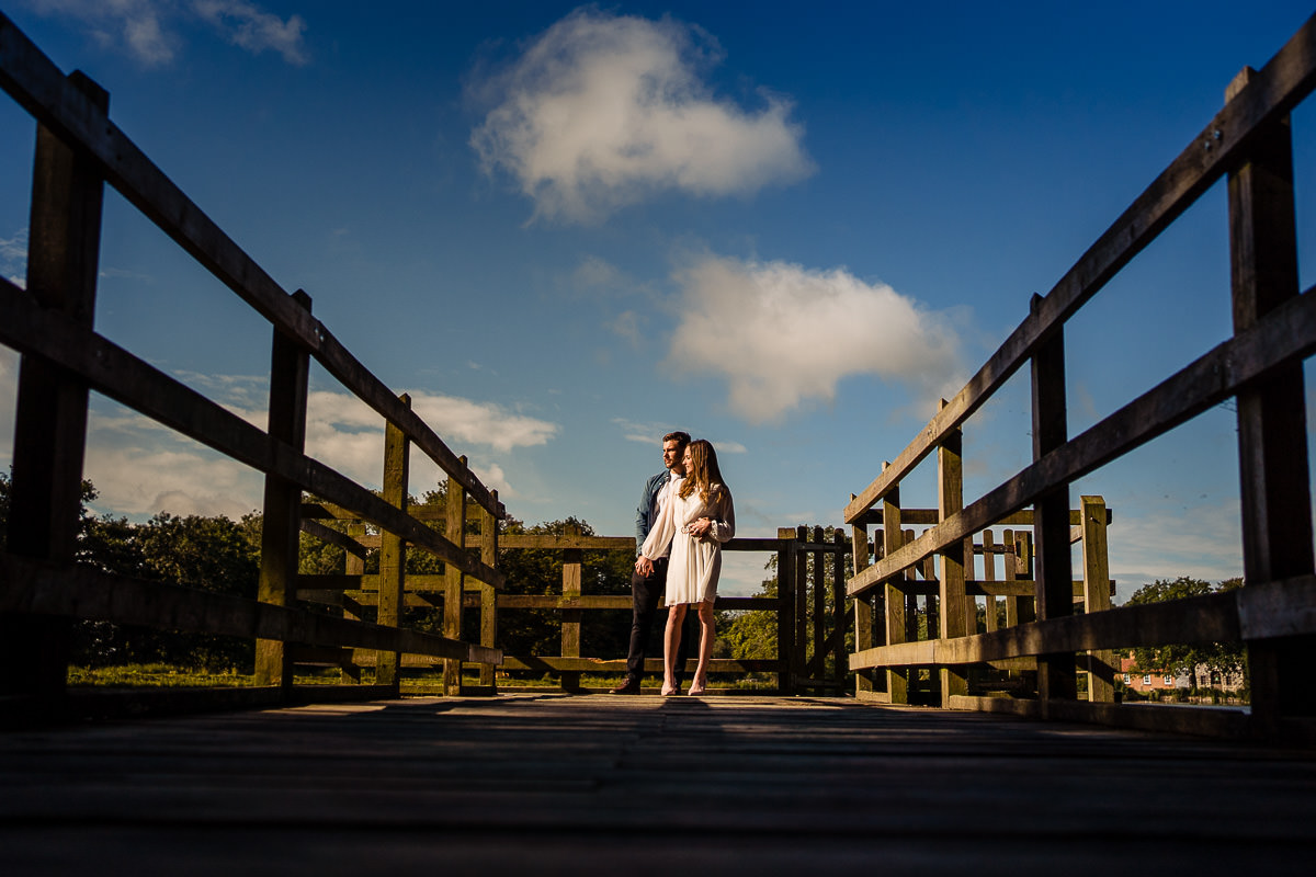 Hatfield Forrest engagement shoot couple on jetty