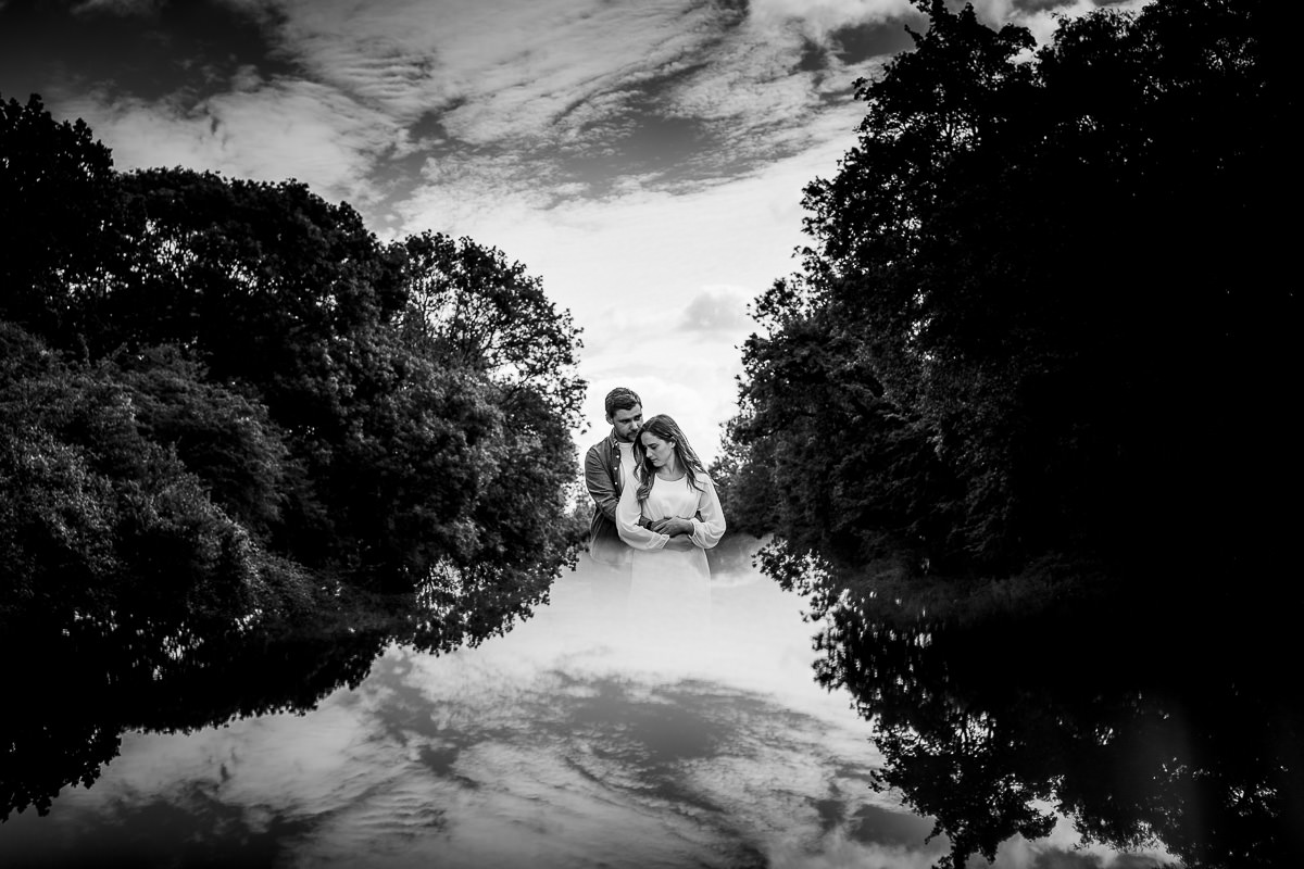 Hatfield Forrest engagement shoot reflection