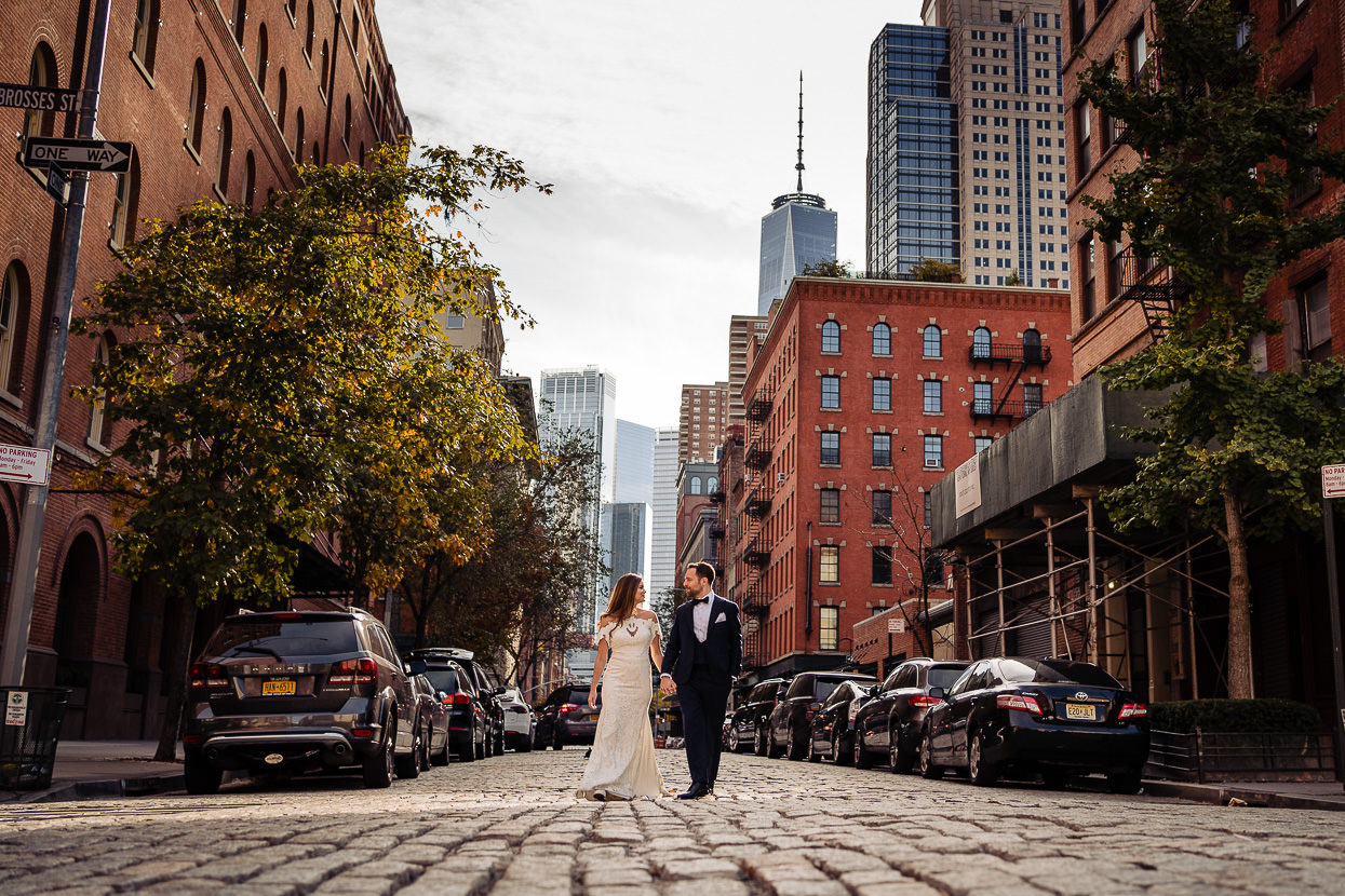 Bride & Groom in New York One World Trade Center in Background