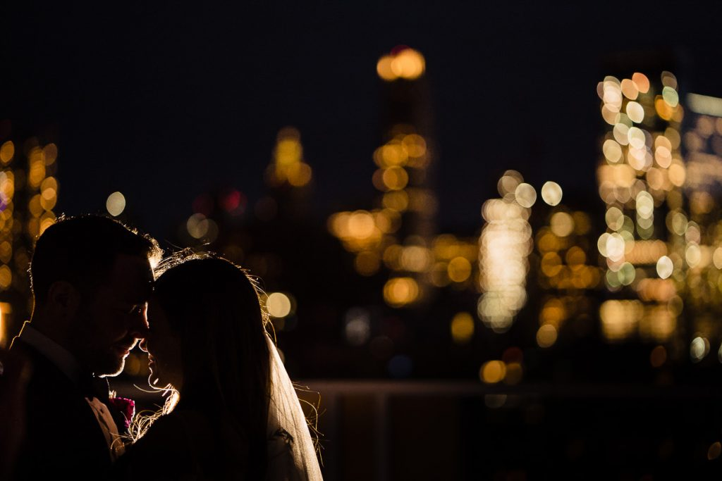 Bride & Groom in New York on Tribeca Rooftop at night